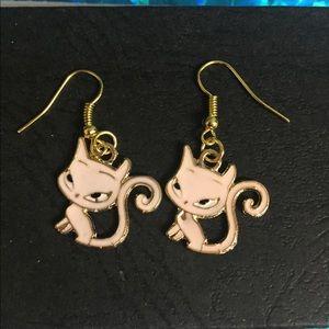 Pink kitty cat earrings
